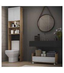 armário banheiro para vaso sanitário com led e balcáo com rodízios multimóveis branco/rustic