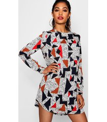 geo print long sleeve shift dress, multi