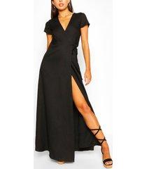 maxi wikkel jurk met laag uitgesneden decolleté en strik, zwart
