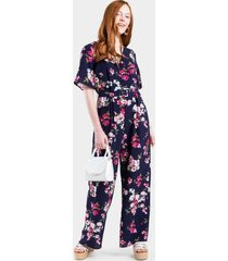 gracelyn floral belted jumpsuit - navy