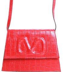 bolsa croco com v em textura birô feminina