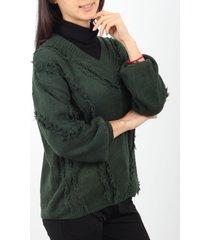 sweater verde minari flecos