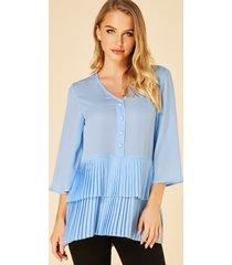 yoins azul cuello de pico plisado de doble capa 3/4 longitud blusa de mangas