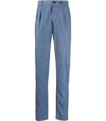 incotex chambray tapered trousers - blue