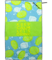 premium beach towel with zipper pocket super absorbent soft lightweight compact eco-friendly anti-bacterial travel accessory keep calm let's drink green by minxny bedding
