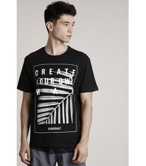 "camiseta masculina ""create your own way"" manga curta gola careca preta"