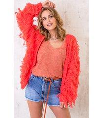 oversized knitted fringe vest neon koraal