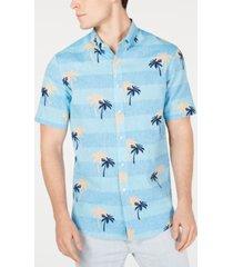 club room men's palm-print linen shirt, created for macy's
