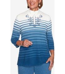 women's missy long weekend ombre striped top