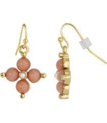 2028 gold-tone semi precious carnelian drop earrings