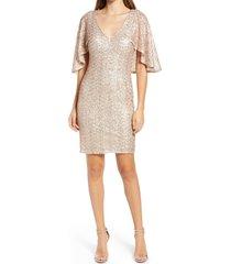 women's vince camuto sequin capelet cocktail dress, size 0 - metallic