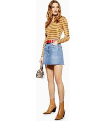 mid blue denim mini skirt - mid stone