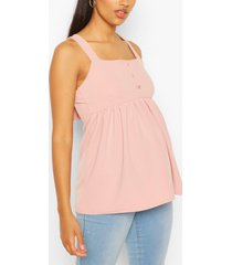 maternity button front smock cami top, pale pink