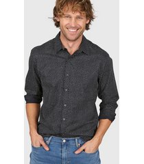 camisa negra levi's ls pacific no pocket - little stars caviar print