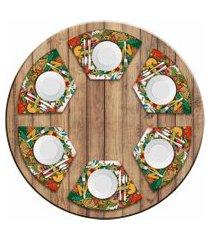 jogo americano love decor  para mesa redonda wevans mexico kit com 6 pçs