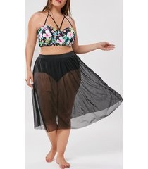 floral plus size mesh skirted swimwear
