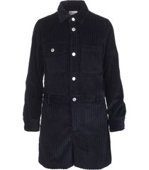 red valentino short jumpsuit in navy blue corduroy