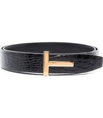 tom ford t buckle crocodile effect belt - black