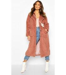 longline teddy faux fur coat, camel