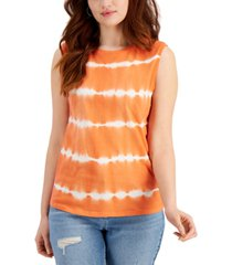 style & co plus size cotton tie-dyed tank, created for macy's