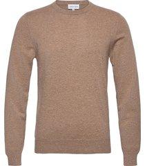 man o-neck plain stickad tröja m. rund krage brun davida cashmere