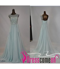 sexy scoop mint long prom/evening dresses,light blue prom bridesmaid gown re233