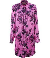 laneus fuchsia long shirt dress