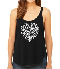 la pop art women's premium word art flowy tank top- love