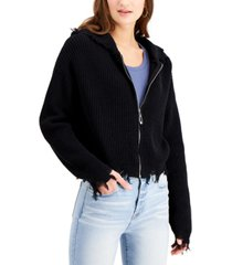 hooked up by iot juniors' destructed sweater hoodie