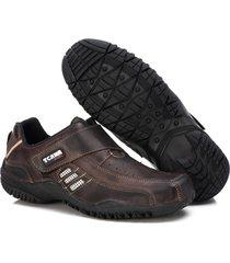 sapatenis couro tchwm shoes masculino calce facil dia dia marrom - kanui