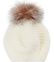 knit fox fur pom-pom beanie