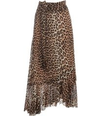 ganni printed mesh long straight skirt