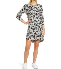 bobeau long sleeve shift dress, size x-small in black floral at nordstrom