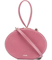 cafuné egg textured leather clutch - pink