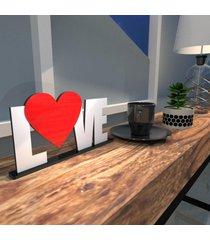 escultura de mesa branco love heart vermelho ãšnico - multicolorido - dafiti