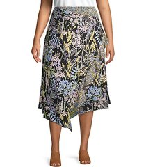 plus ruffled floral wrap skirt