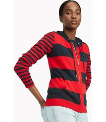 tommy hilfiger women's essential mixed stripe hoodie sweater sky captain / scarlet - xs