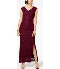connected petite embellished lace cowlneck gown
