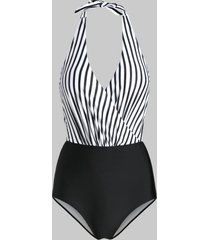 halter striped polka dot surplice monokini swimsuit