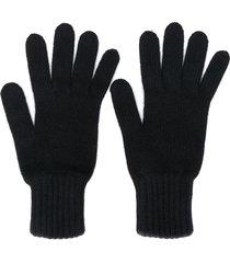 pringle of scotland gloves with ribbed details - black