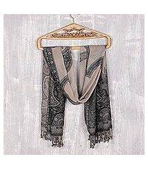 jamawar wool shawl, 'paisley subtlety' (india)