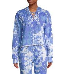 lea & viola women's tie-dye lace-up hoodie - tie dye - size m