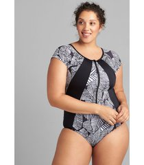 lane bryant women's active no-wire swim one piece 18 graphic leaves