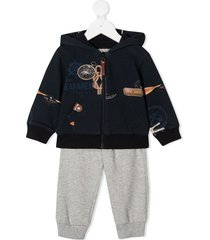 lapin house seafarer-print hooded tracksuit set - blue