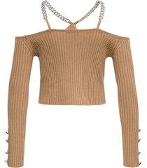 giuseppe di morabito cashmere blend top with chain straps