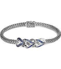'asli classic chain' sapphire link charm silver chain bracelet