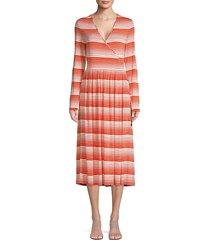 stine goya women's alina stripe surplice a-line midi dress - stripes red - size xs