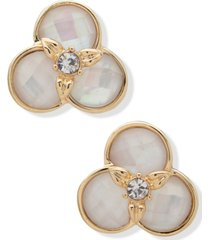 anne klein gold-tone pave & mother-of-pearl flower clip-on button earrings