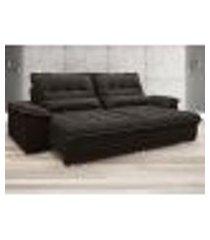 sofa bergamo 2,50m assento retratil e reclinavel velosuede chocolate - netsofas