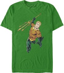 fifth sun dc men's aquaman trident action pose short sleeve t-shirt